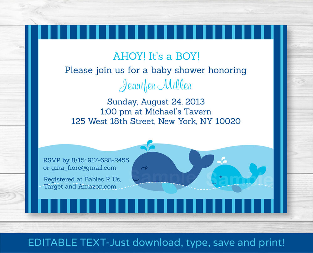 Lil Whale AHOY! Its a Boy! Baby Shower Invitation Editable ...