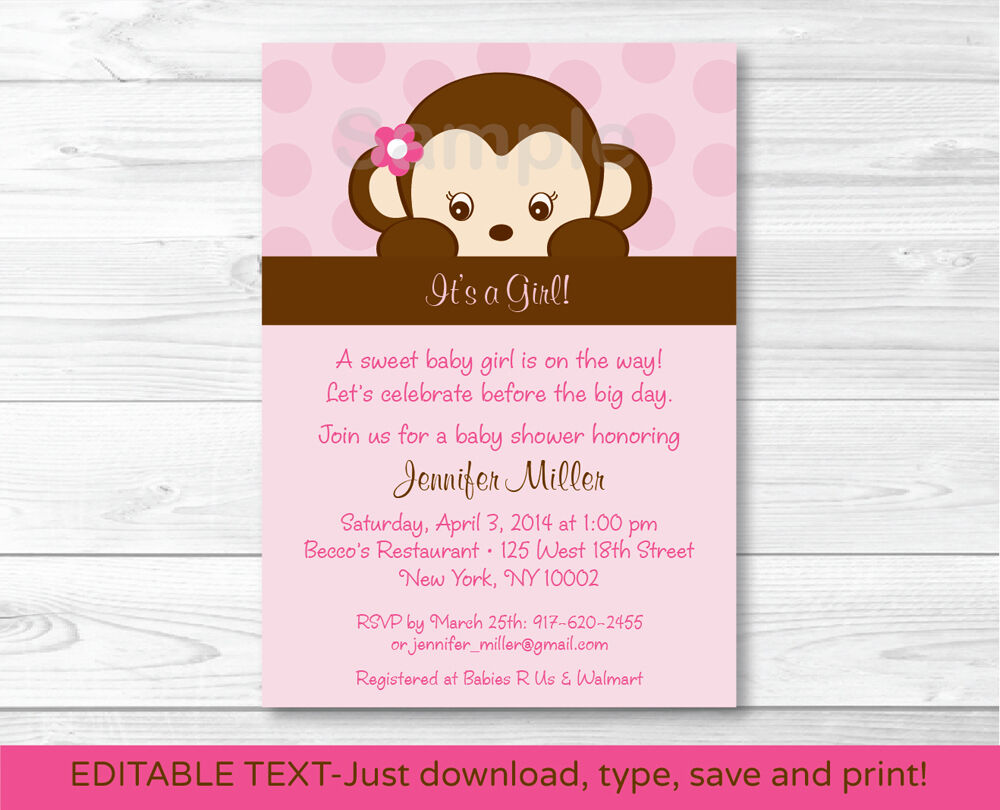 Free Printable Monkey Baby Shower Invitations as luxury invitation ideas