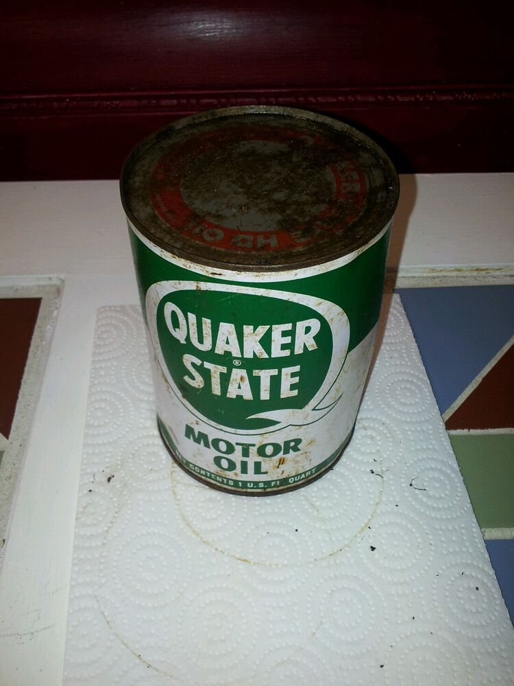 Old Vintage Quaker State 1 Qt Motor Oil Tin Can Full
