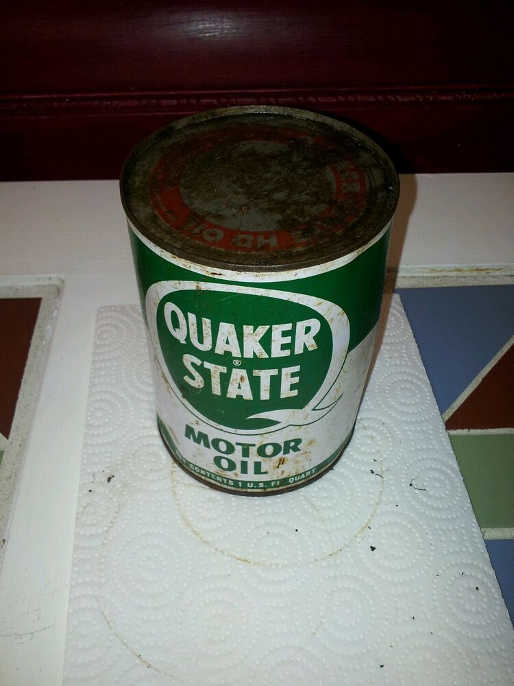 Old vintage quaker state 1 qt motor oil tin can full for Quaker state motor oil history