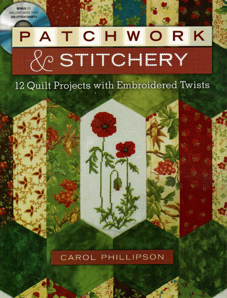 Patchwork stitchery embroidery quilt cross stitch for Patchwork quilt book