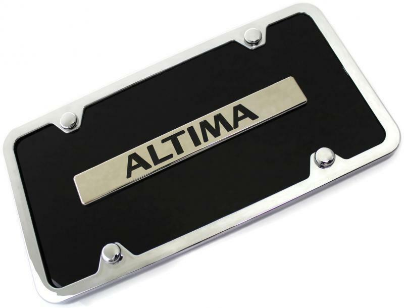 Aluminum License Plate Frame >> Nissan Altima Name ACRYLIC Front License Plate Novelty Black Gloss Authentic | eBay