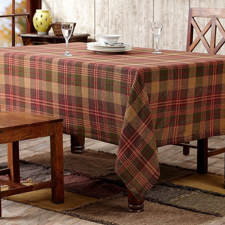 Kendrick Green Gold Red Plaid Burlap Cotton Country