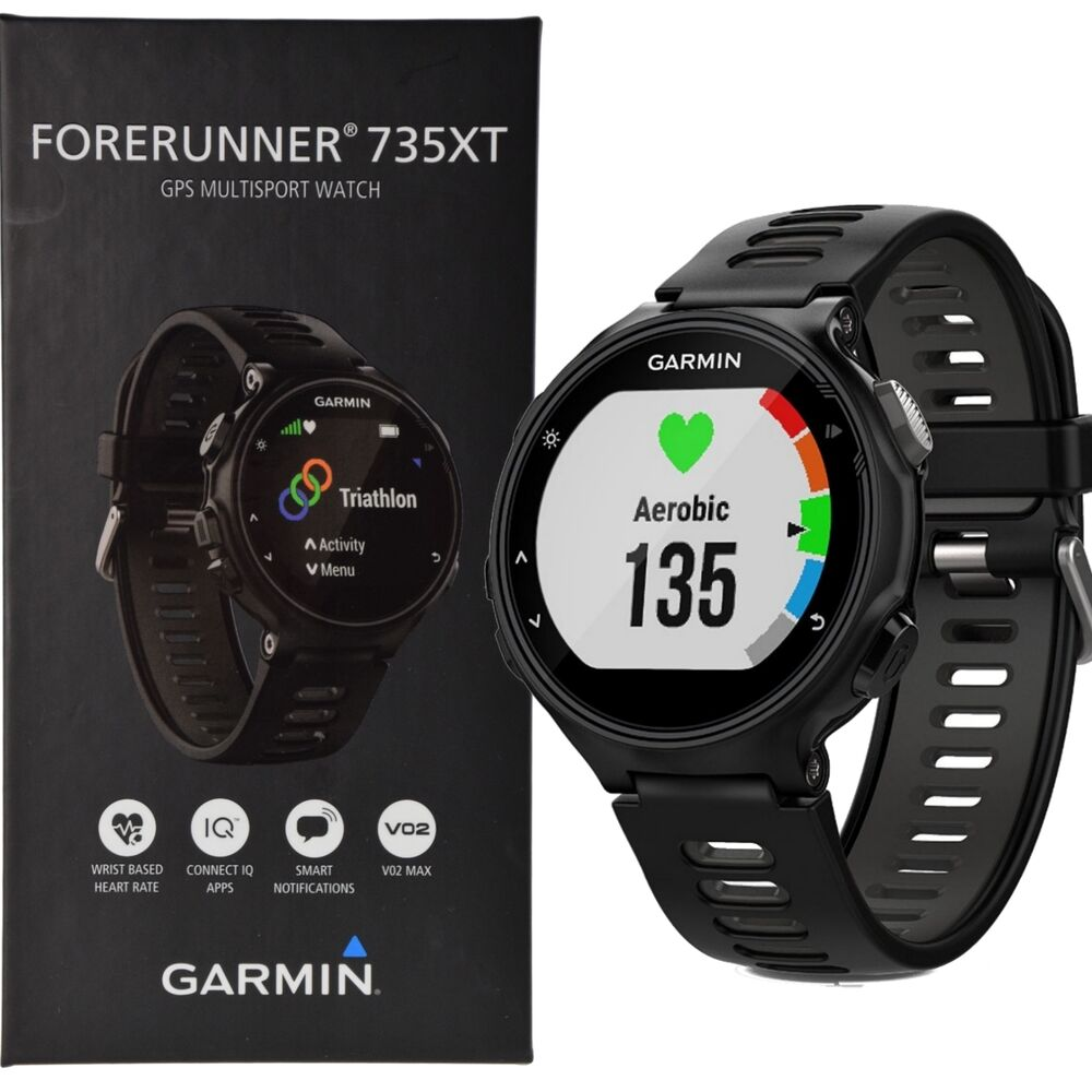 garmin forerunner 735xt running multisport watch wrist based hrm black gray ebay. Black Bedroom Furniture Sets. Home Design Ideas