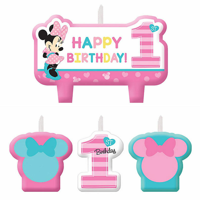 Baby Minnie Mouse 1st Birthday Mini Molded Candles 4ct