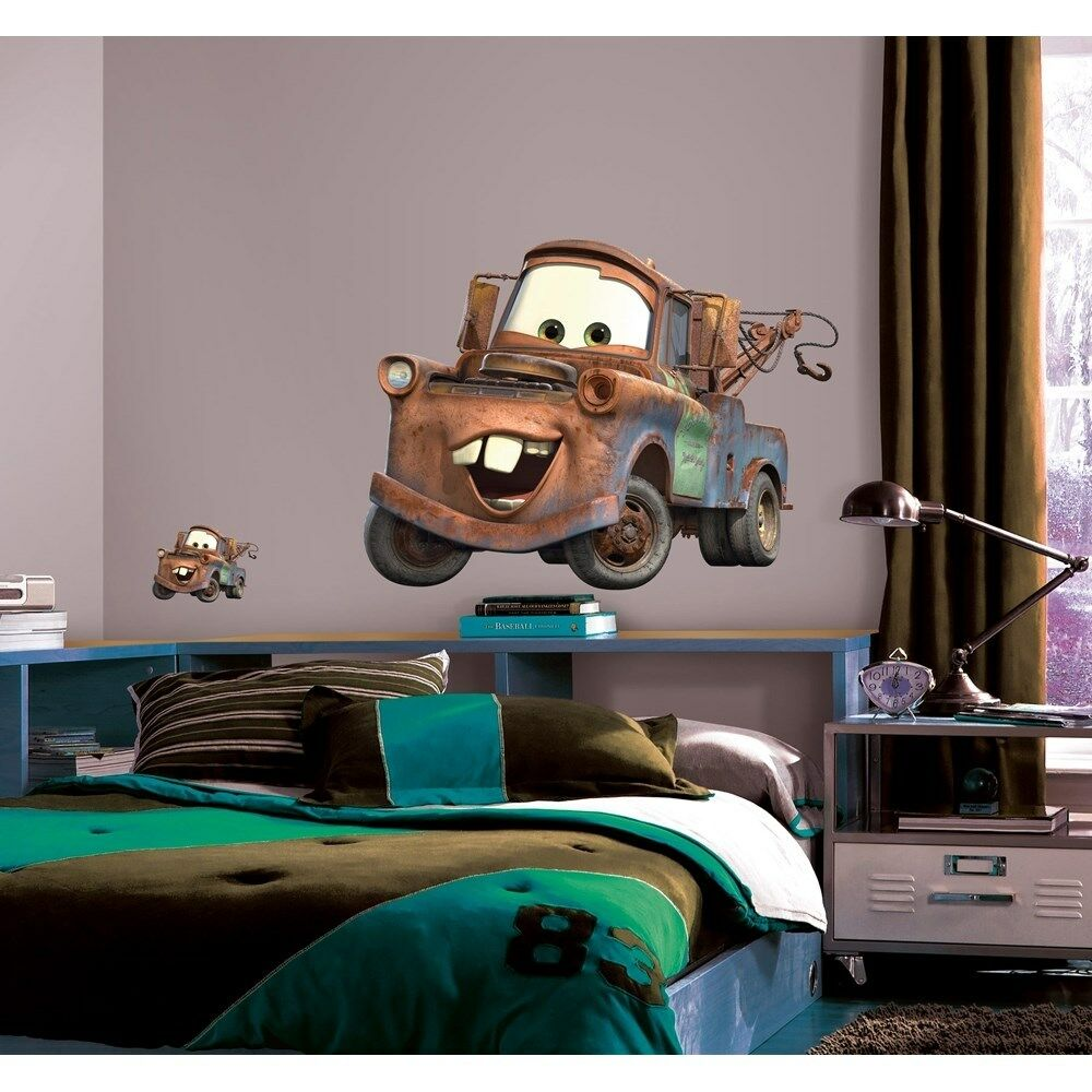 New giant mater wall decals disney cars tow truck bedroom for Cars wall mural sticker