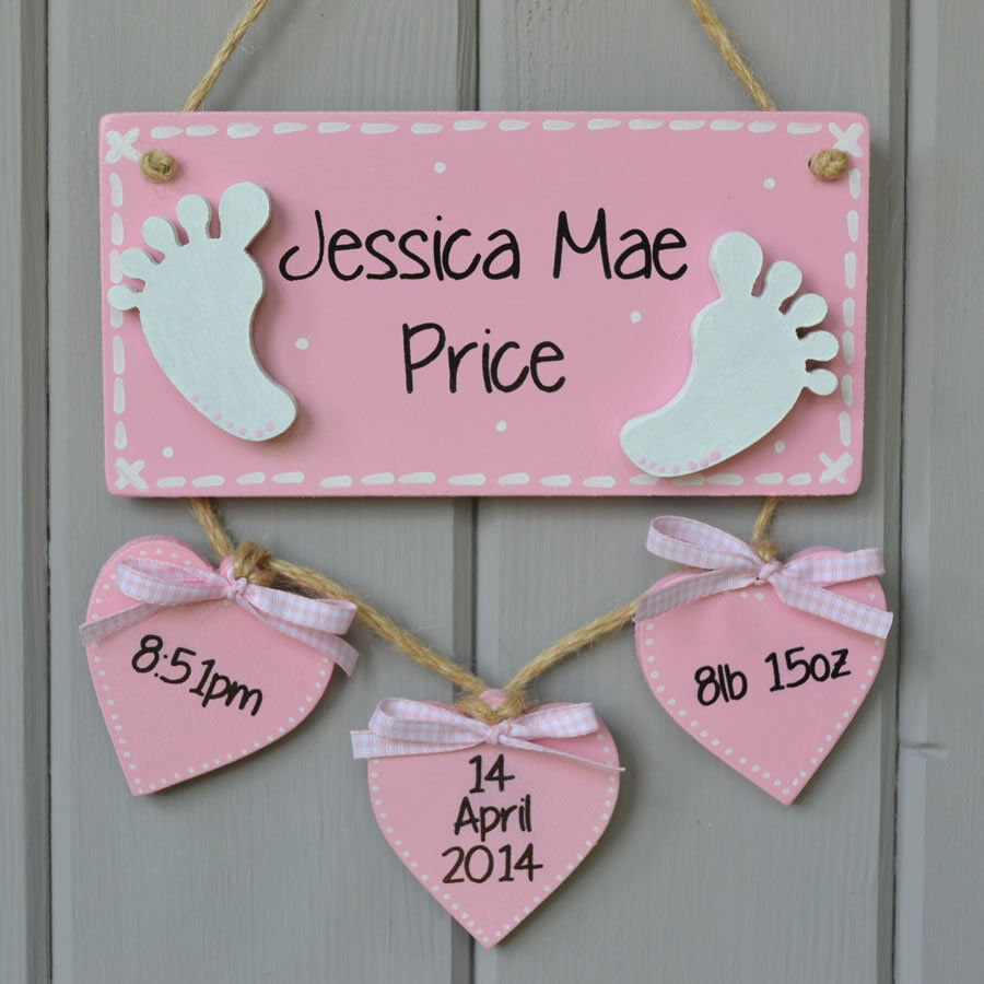 Baby Gift Name Plaque : Baby birth details plaque personalised gift and