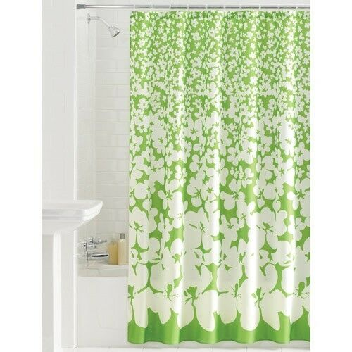 Mainstays Floral Ditty Green Amp White Fabric Shower Curtain
