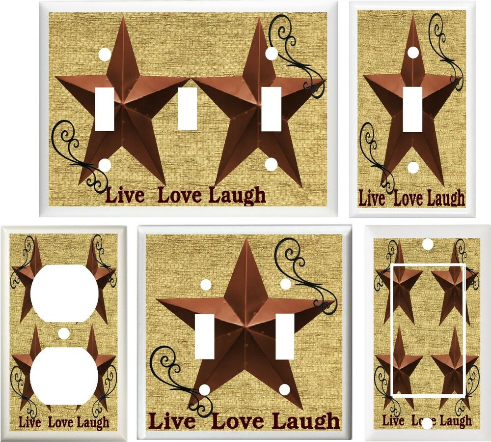 Country Barn Star Live Love Laugh Home Decor Light Switch