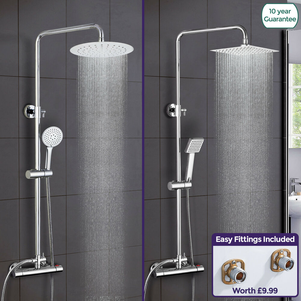 rosa thermostatic shower mixer chrome bathroom bath twin