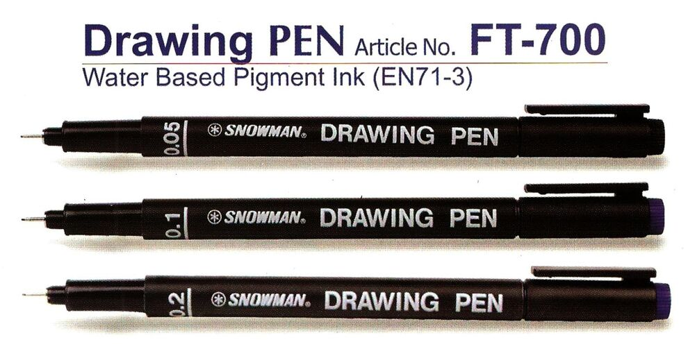 Line Drawing With Fineliner And Pencils : Snowman pin drawing pen fine liner art craft