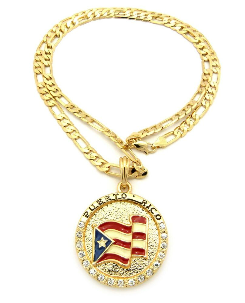 new iced out puerto rico flag pendant 5mm 24 figaro chain