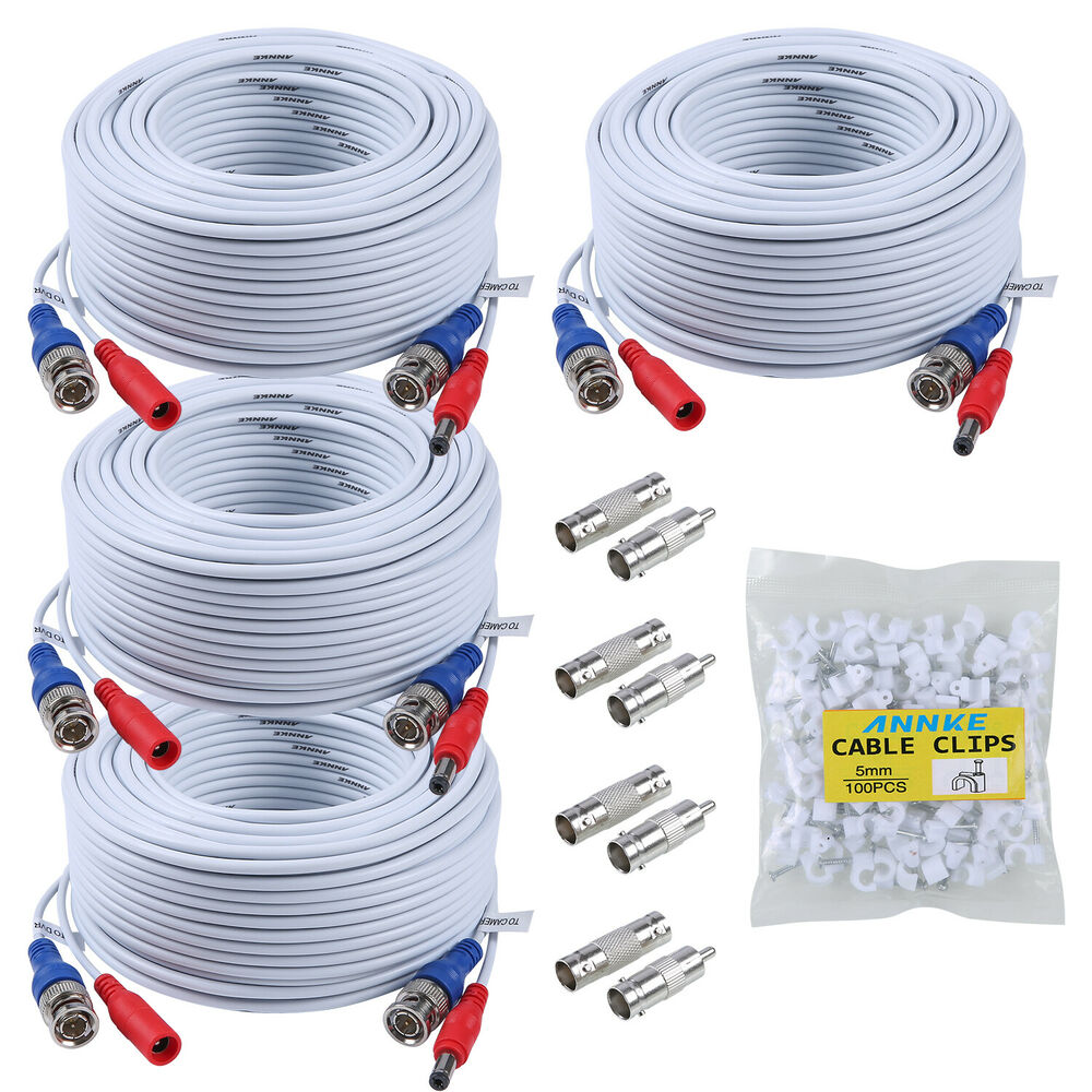 Annke 4pcs 100ft Video Power Bnc Cable For Cctv Security