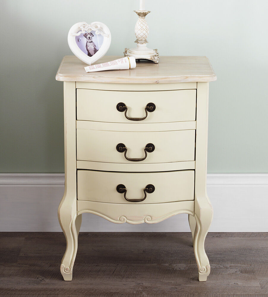 Juliette Shabby Chic Champagne Bedside Table 3 Drawer
