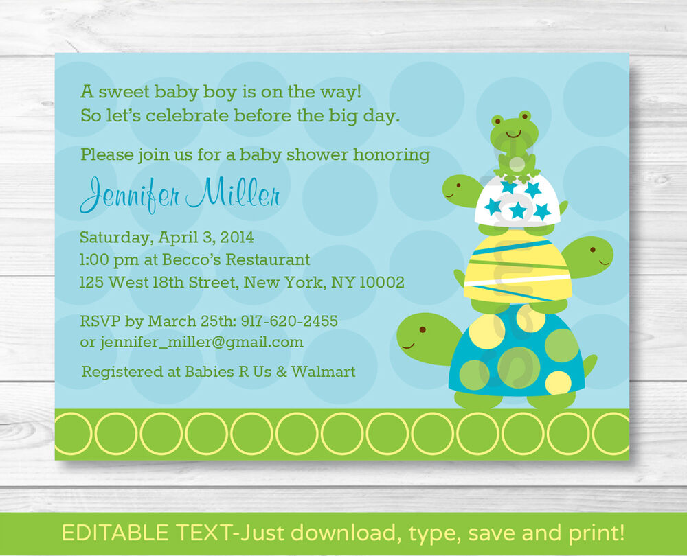 stacked turtle frog printable baby shower invitation