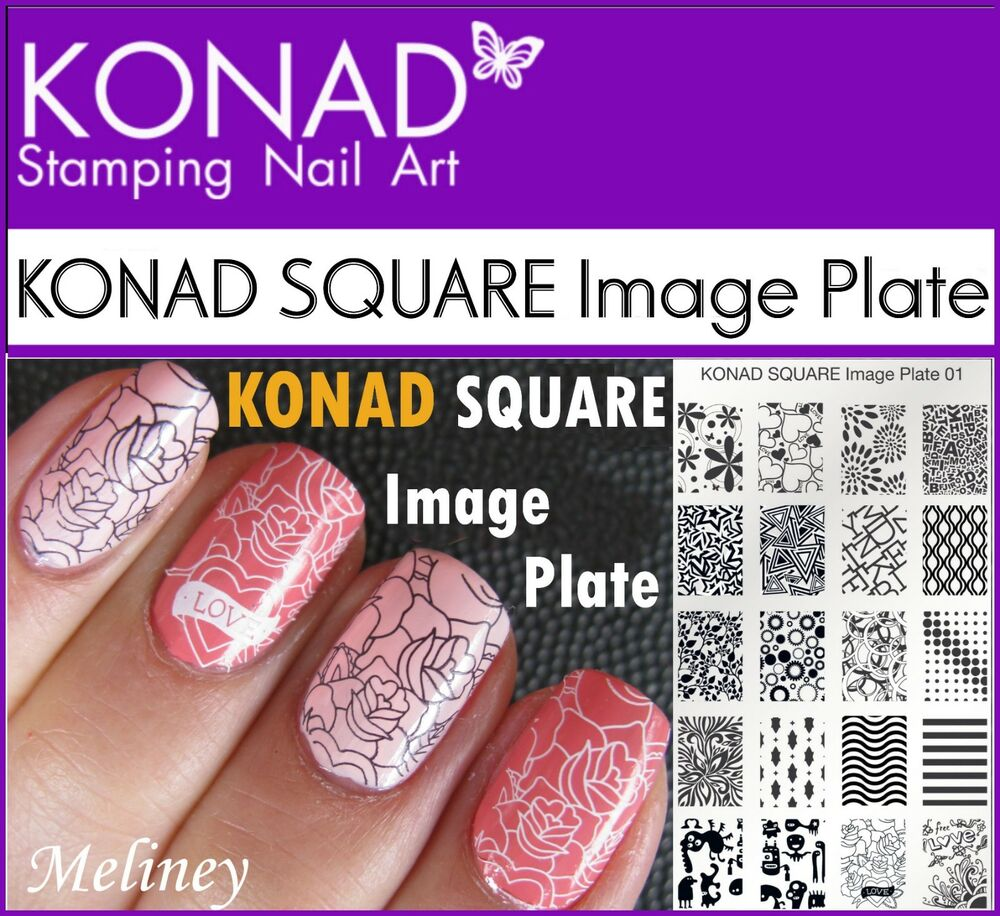 Konad Square Image Plates For Stamping Nail Art Designs 1 2 3 4 6 7