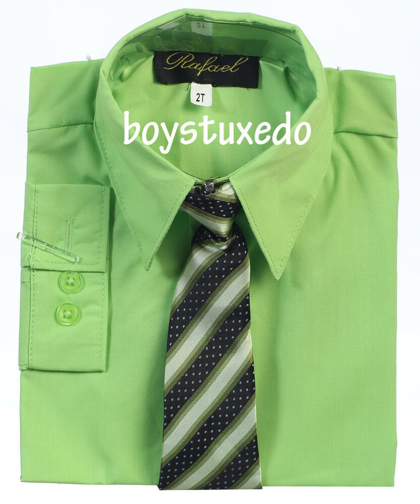 Boys Formal Lime Apple Green Solid Long Sleeve Dress Shirt With Tie