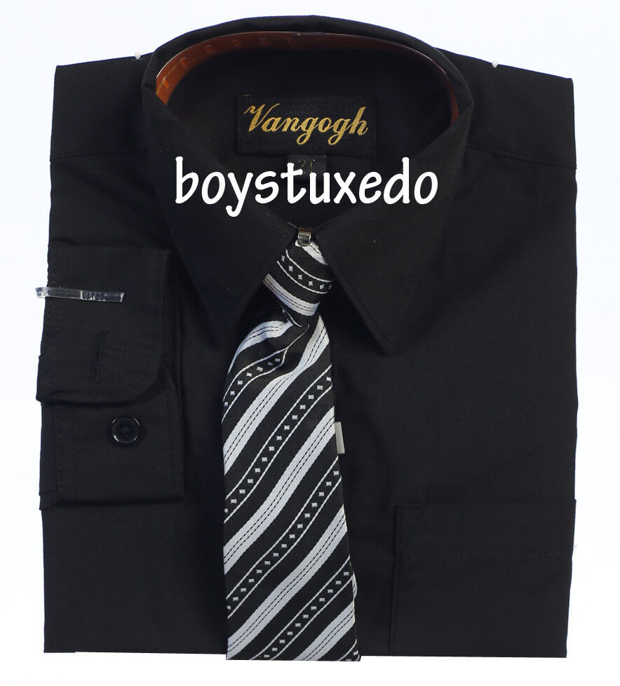 New Boy Toddler Black Solid Long Sleeve Dress Shirt