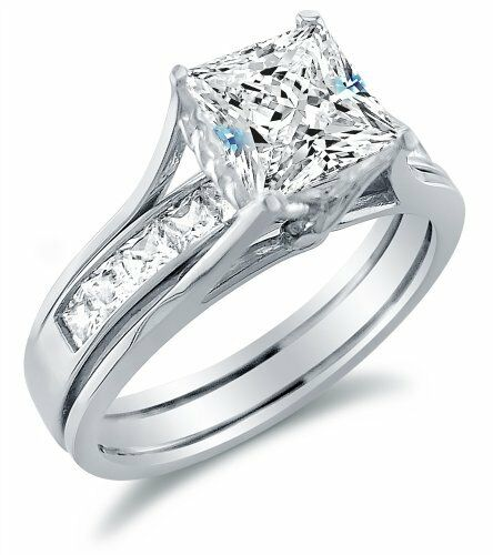 solid 14k white gold princess cut engagement ring wedding band diamond