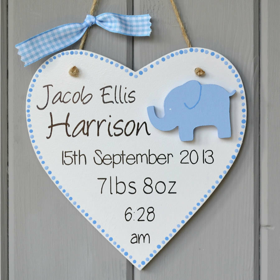 Baby Gift Name Plaque : Newborn baby birth plaque personalised boy elephant