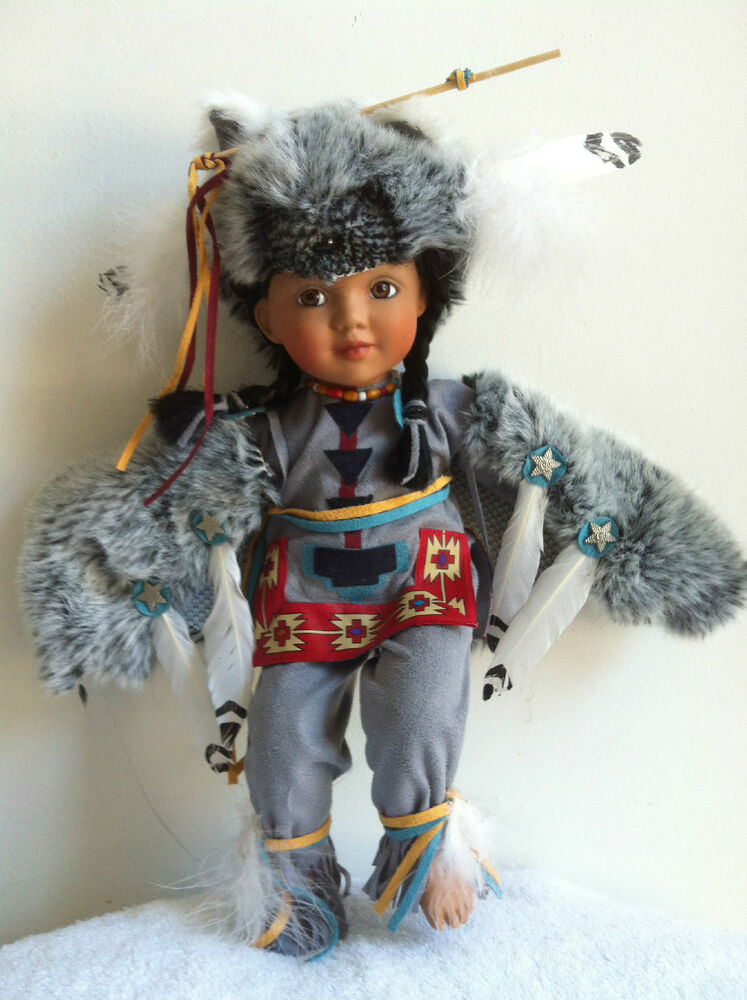 Little Grey Wolf Indian Porcelain Doll By Judy Belle For