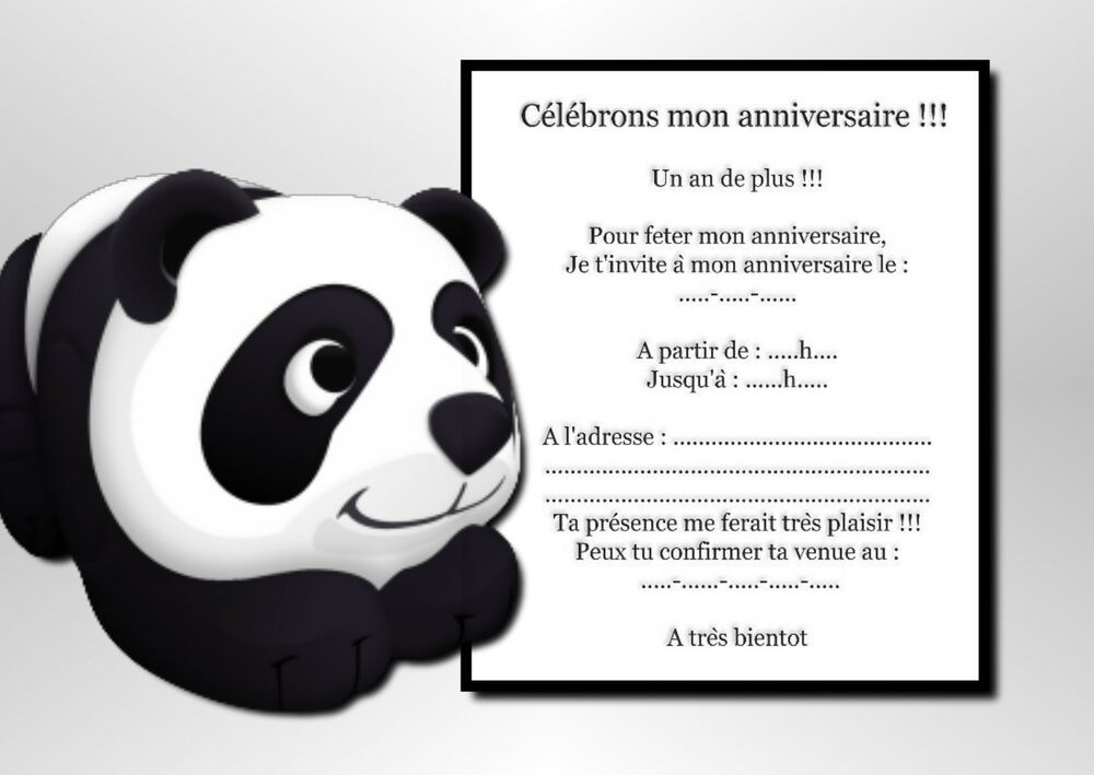 5 ou 12 cartes invitation anniversaire panda ref 935 ebay. Black Bedroom Furniture Sets. Home Design Ideas