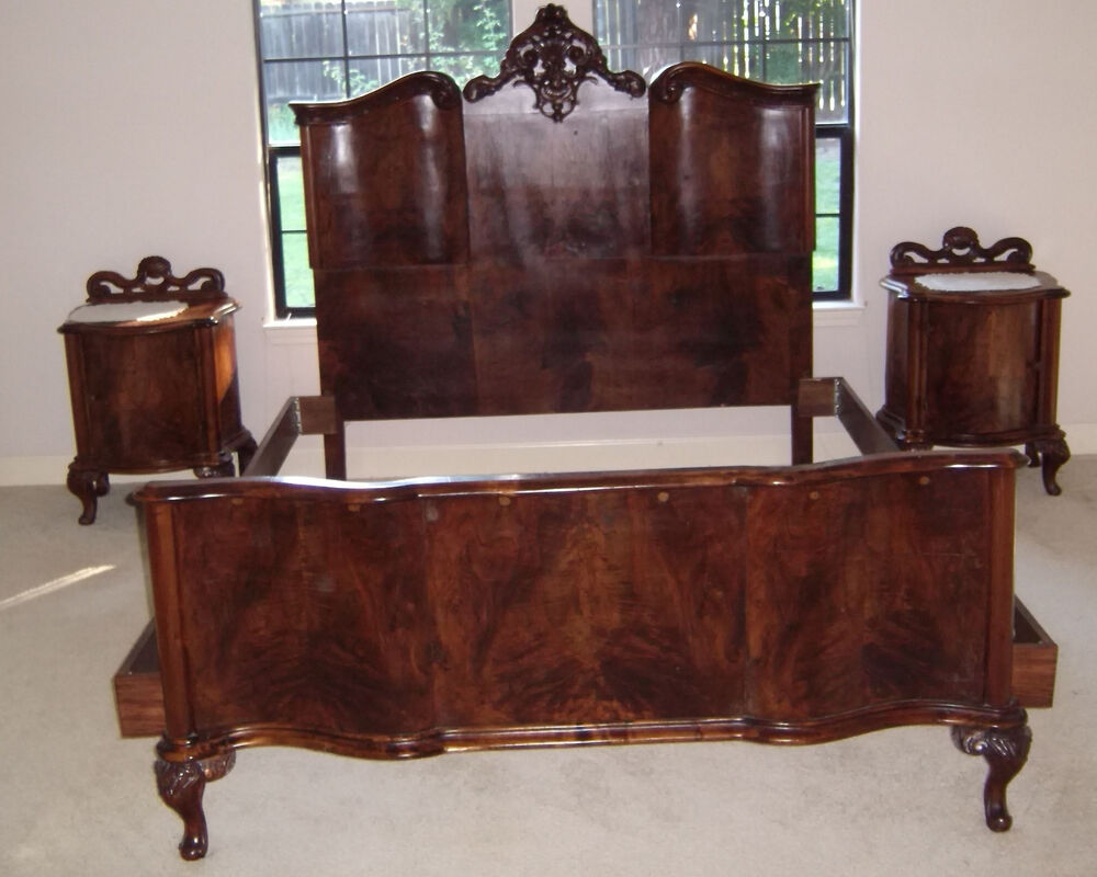 S italian hand carved burled walnut pc bedroom set ebay