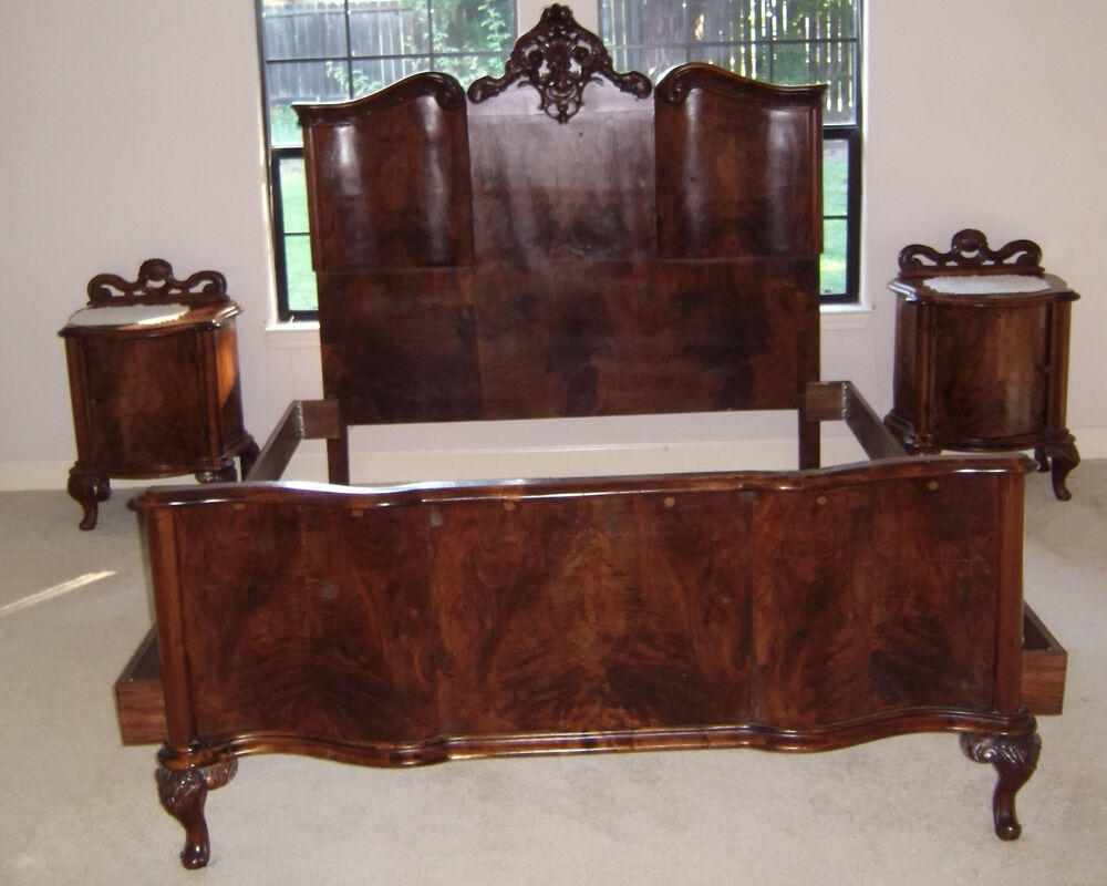 Hand Carved Bed: 1920s Italian Hand Carved Burled Walnut 6pc Bedroom Set