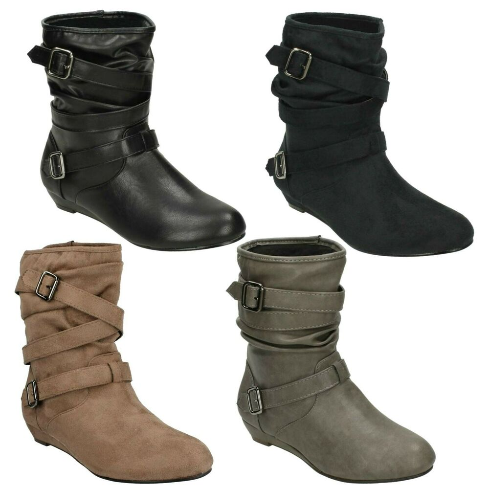 pull on ankle boots sizes 3 8 small wedge f50068