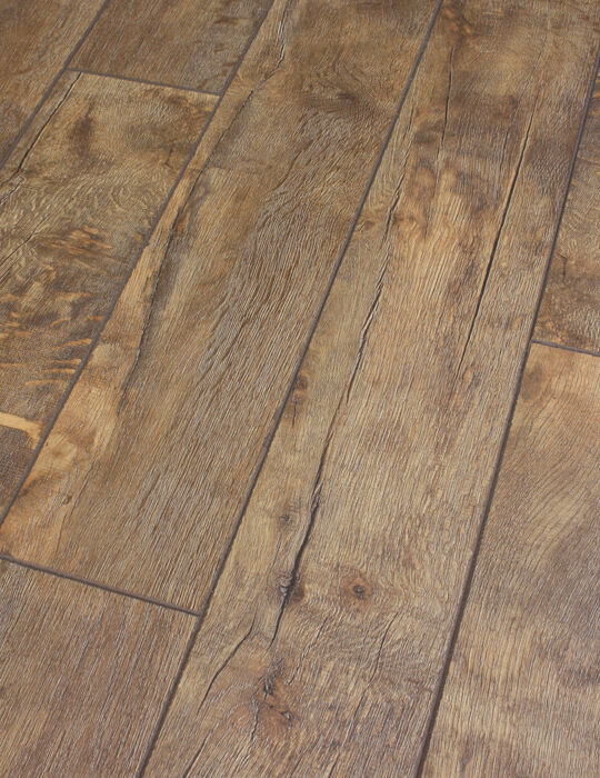 Sample Of Distressed Stone Canyon Dark Oak Laminate