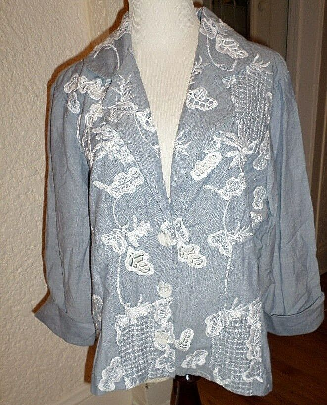 CHICOu0026#39;S CHAMBRAY EMBROIDERED COURDELLE JACKET NWT CHICOS 3 L/XL | EBay