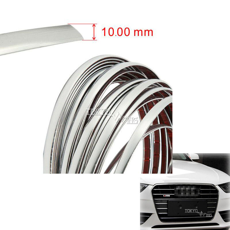 10mm x 7 5m molding trim interior decoration strip side silver universal chrome ebay. Black Bedroom Furniture Sets. Home Design Ideas