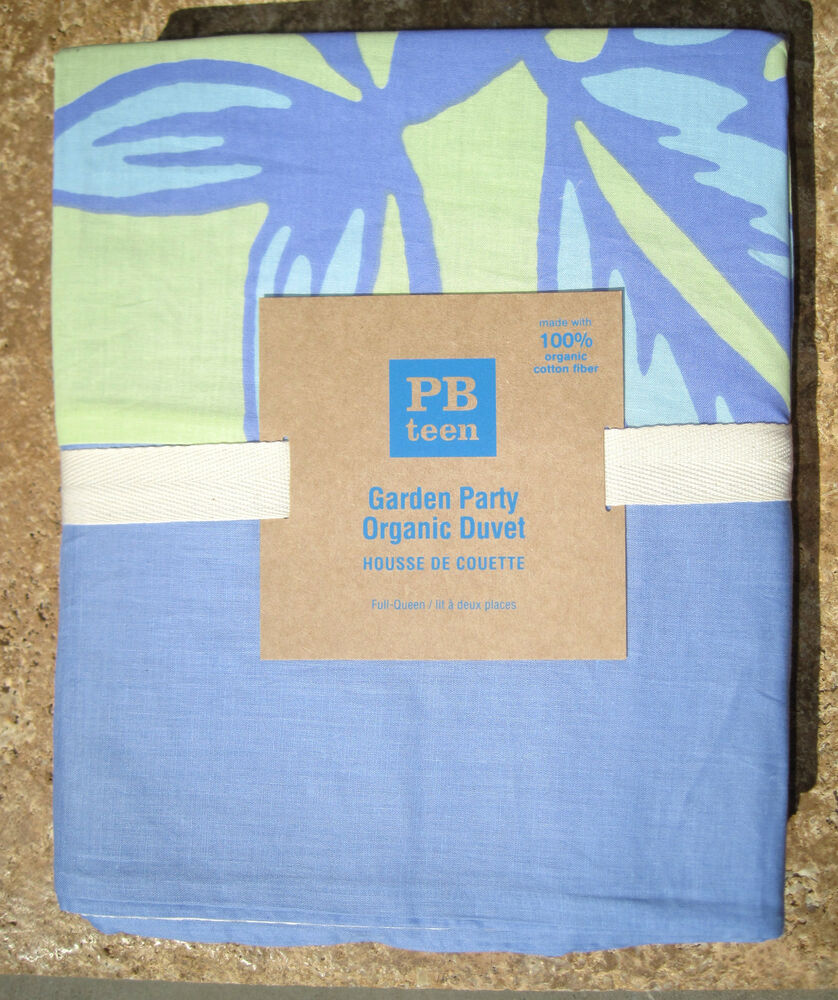 Pottery Barn Garden Party Full Queen Duvet Periwinkle