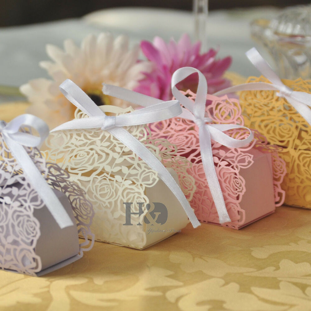 Wholesale Rose Candy Boxes Wedding Favor Party Gift Boxes With White