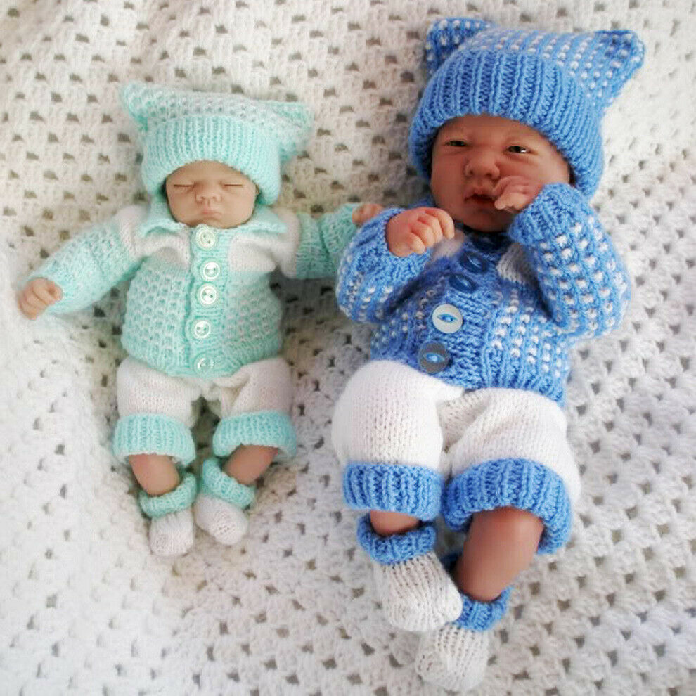 Knitting Patterns For Very Premature Babies : Creative Dolls Designs Knitting Pattern Cardigan Set for 14-15