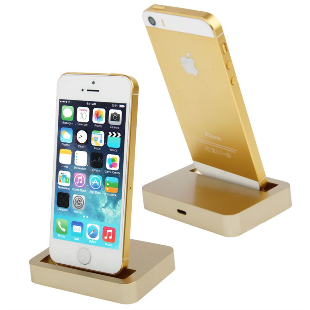 new desktop charging dock stand station charger for apple iphone 5 5s 5c gold ebay. Black Bedroom Furniture Sets. Home Design Ideas