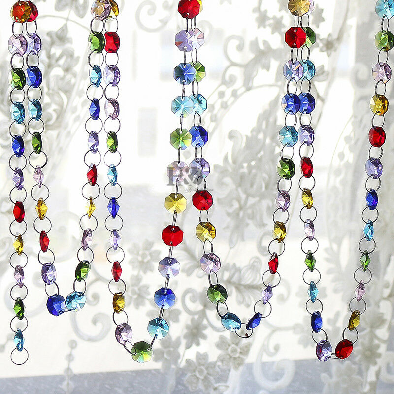 7 ft color glass chandelier crystal beaded chain wedding