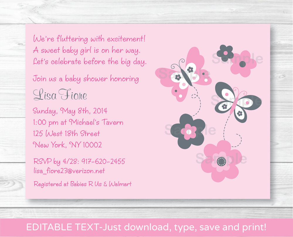 Pink Gray Butterfly Flowers Printable Baby Shower Invitation