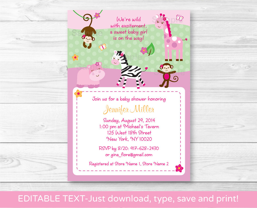Monkey Baby Shower Invitations For Girl is adorable invitation ideas