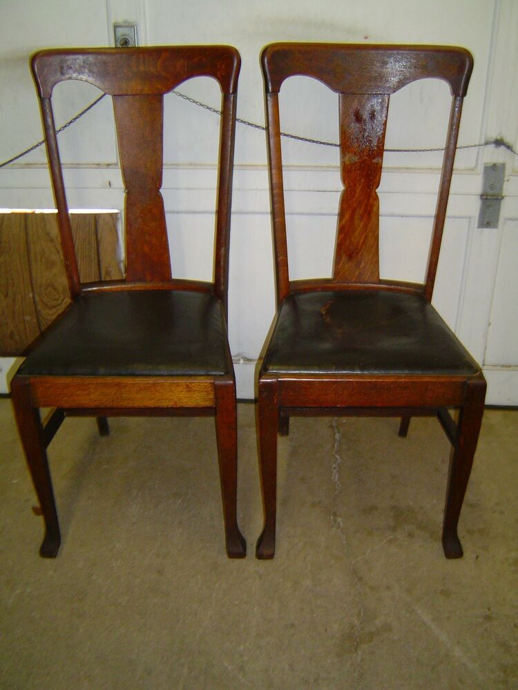 2 formal tiger oak t back vase back dining room chairs for Oak dining room chairs