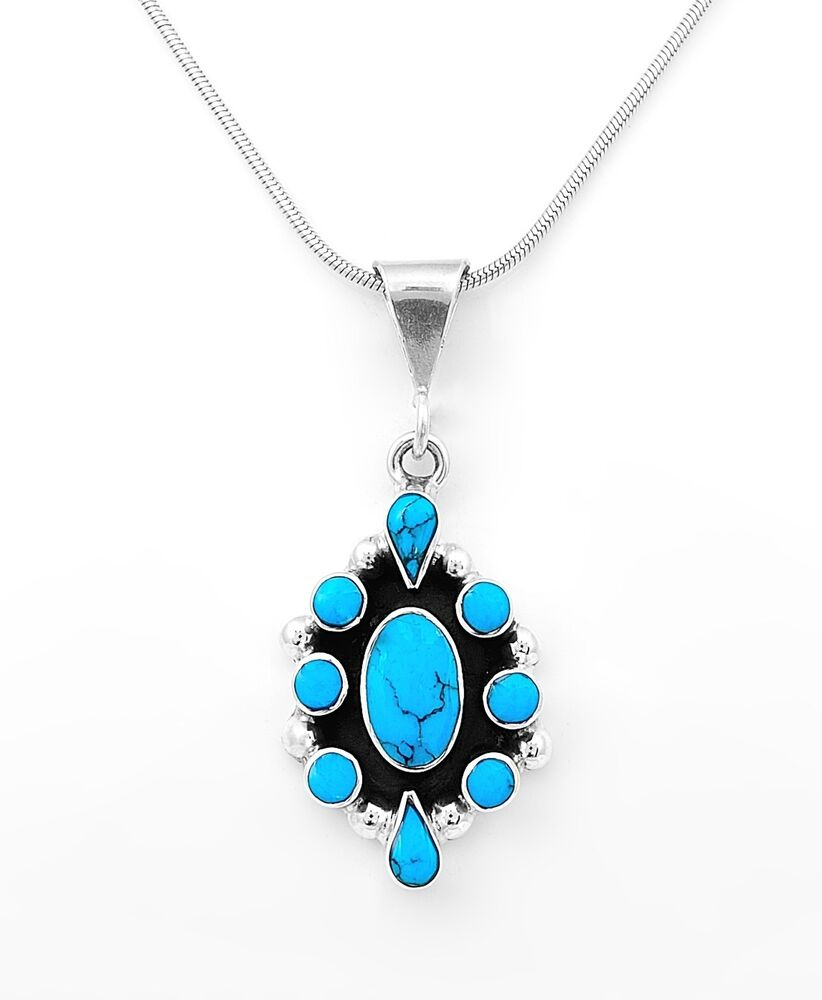 Sterling silver traditional southwestern turquoise pendant for Southwestern silver turquoise jewelry