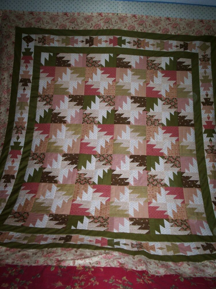 A Pretty Modified Tequila Buzz Pattern Bed Quilt Top 85