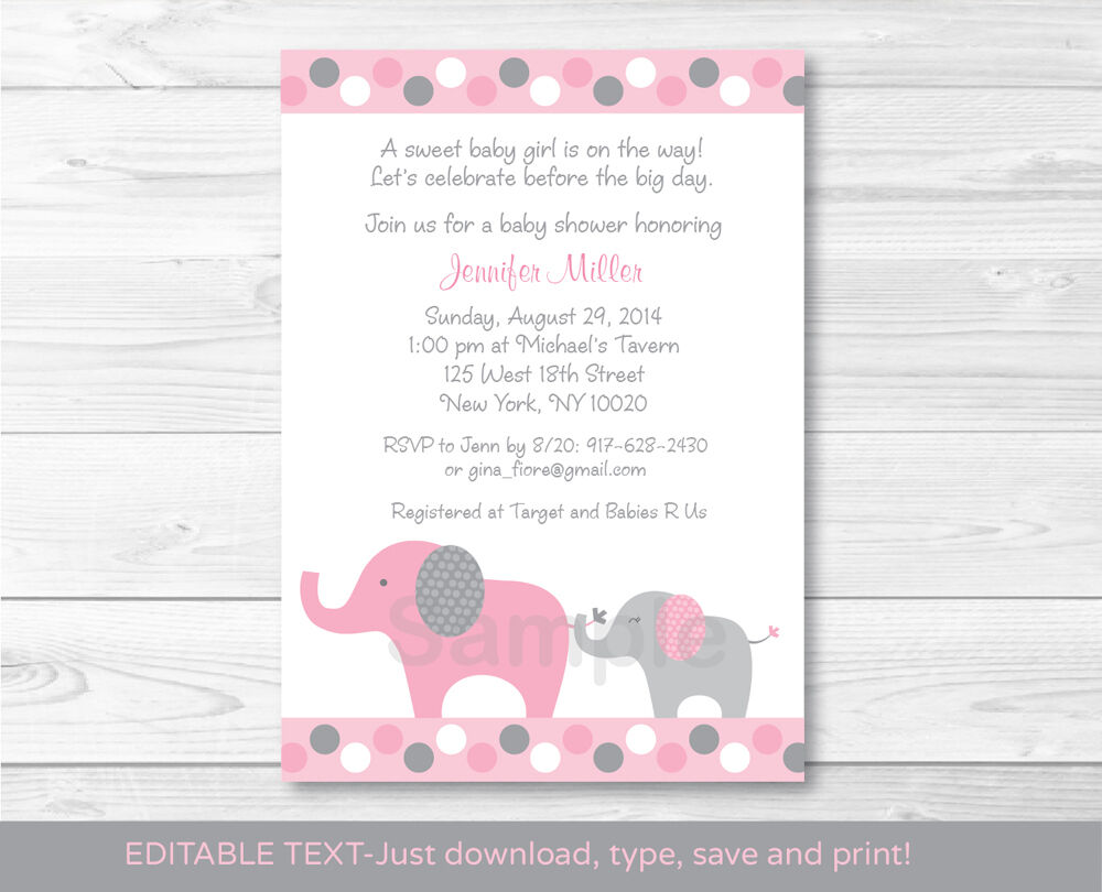 pink and gray polka dot elephant printable baby shower invitation