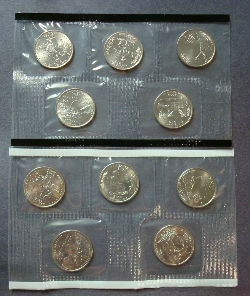 2008 State Quarters P /& D Uncirculated Set Sealed Mint Cello 10 Coin Lot