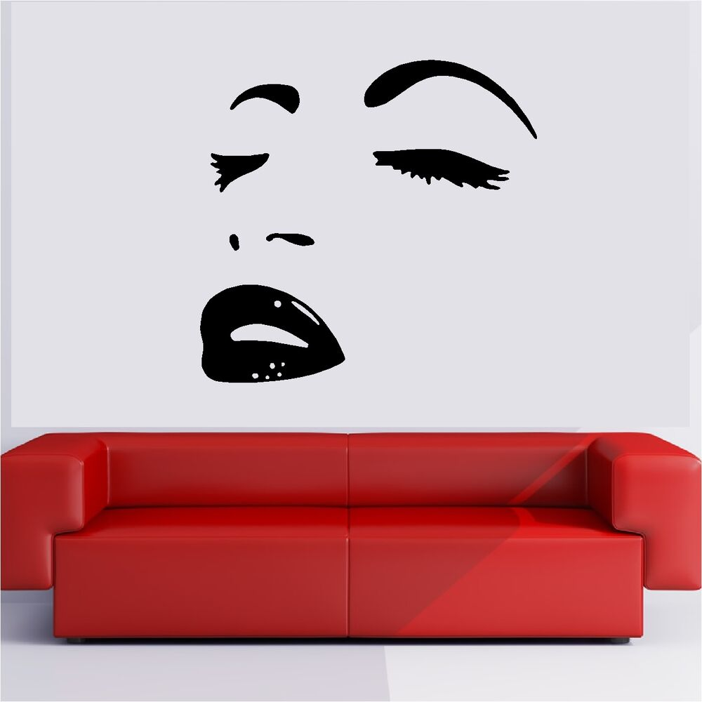 Wall Art Stickers Eyes : Womans face lips eyes sexy make up wall sticker vinyl