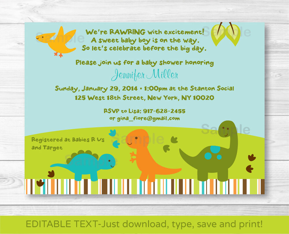 Baby Dinosaurs Printable Baby Shower Invitation Editable