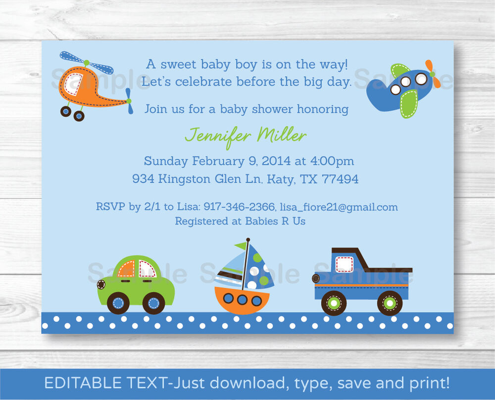 Car Truck Boat Airplane Helicopter Printable Baby Shower Invitation ...