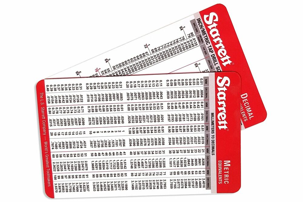 Set of 2 starrett machinist card with decimal equivalents and