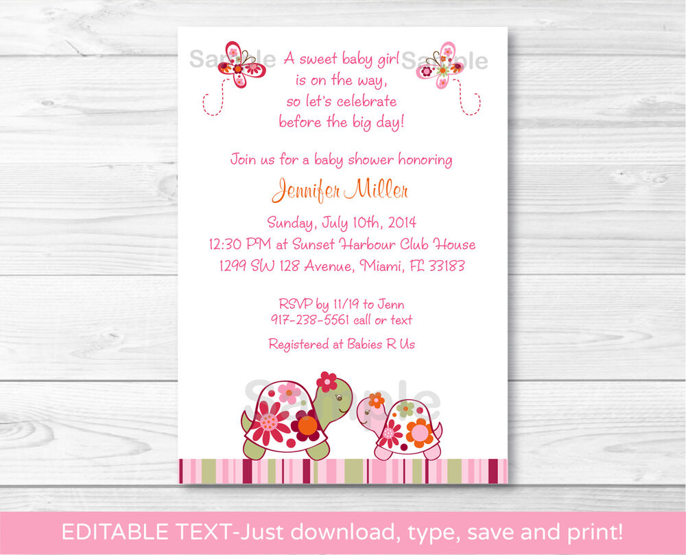 Trendy Tropical Turtle Printable Baby Shower Invitation ...
