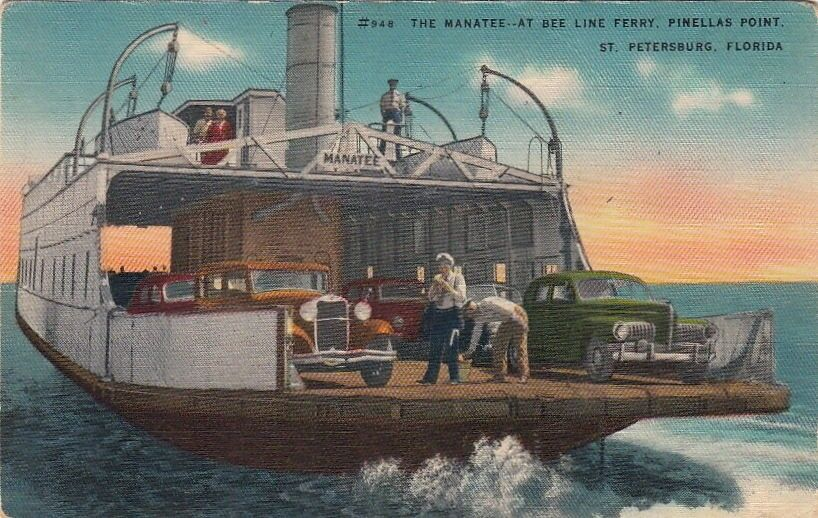 Ebay Boats Florida >> Postcard The Manatee at Bee Line Ferry Pinellas Point St Petersburg FL | eBay